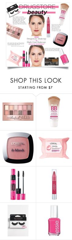 """""""Drugstore beauty"""" by gmg5 ❤ liked on Polyvore featuring beauty, Maybelline, L'Oréal Paris, Rimmel, Neutrogena, Revlon and Essie"""