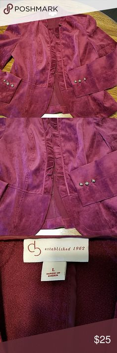 Jacket, long sleeved, burgundy, ruffled front clos Jacket, long sleeved, burgundy, ruffled front closure with hooks. Well tailored, peplum style, lightly padded shoulders. This outfit is desiged to show off those curves! Shirt sold separately.  Worn once.  Perfect condition. Dress Barn size large. Jackets & Coats Blazers
