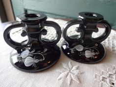 Vintage Black Pair of Candle Holders with Hand Painted Flowers   Floor2atBreck - Collectibles on ArtFire