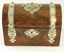 Antique Victorian Walnut Domed Top Stationery Box