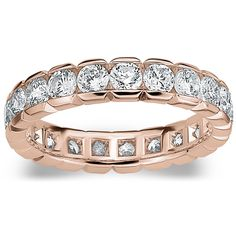 Amore 14k or 18k Rose Gold 2ct TDW Round Brilliant Diamond Eternity Band (, SI1-SI2) (14K Rose Gold - ), Women's