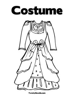 Vintage Dress Coloring Page from TwistyNoodle.com