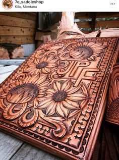 Beautiful leather tooling on custom hand tooled leather portfolio cover with initials and sunflowers Leather Carving, Leather Art, Leather Design, Leather Tooling, Tooled Leather Purse, Leather Binder, Leather Notebook, Leather Journal, Leather Bible Cover