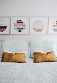 Bedding: Anthropologie | Shams: Anthropologie | Sheets: Home Outfitters | Gold Dipped Toss Cushions: West Elm | Art: Self-made | Frames: Ikea