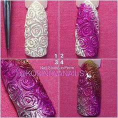Маникюр пошагово Gel Designs, Nail Art Designs, Mani Pedi, Manicure, Chrom Nails, Magnetic Nails, Ideas Geniales, Nail Decorations, Nail Tutorials