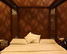 CNC cut veneer design bedroom by Abhishek Dani design. www.abhishekdani.com