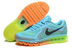 dbe3703dcf Nike Air Max 2014 Womens Current Blue Black-Volt-Orange Shoes Running  Sneakers,