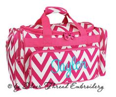 Personalized Duffle Bag Chevron Hot Pink White Ballet by parsik93, $36.99
