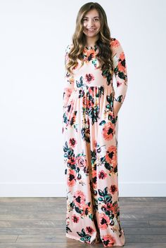 Layla Floral Dress in Blush