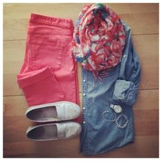 coral, chambray, fun scarf, and comfy shoes. Whitecoatwardrobe IG