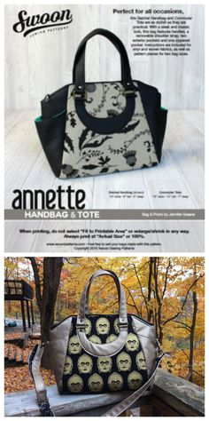Here is Swoon's Annette handbag & tote sewing pattern. This perfect for all occasions bag is both stylish and very practical.