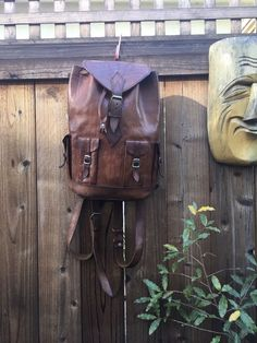 Vintage Distressed Leather Backpack Travel Rucksack Leather Tote Medium  | eBay