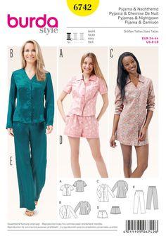 Pyjama, Nachthemd – Shorts – Bluse – Tunika Schwierigkeitsgrad: leicht Gr. 34…