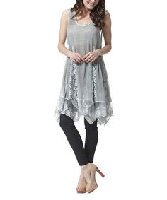 Another great find on #zulily! Gray Lace Godet Tunic by Simply Couture #zulilyfinds