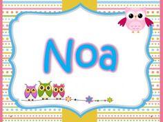 Tarjetas imprimibles Nombres de Niñas. Motivo Búhos + Plantilla