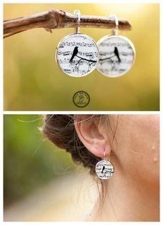 Music Note Earrings, Bird Earrings, Photo Jewelry, Art Jewelry, Picture Earrings Jewelry, Dangle Earrings, Black and White Earrings, by LadyArtTalk on Etsy https://www.etsy.com/listing/215380269/music-note-earrings-bird-earrings-photo