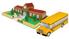 PaperCraft Town : School building and bus paper model template