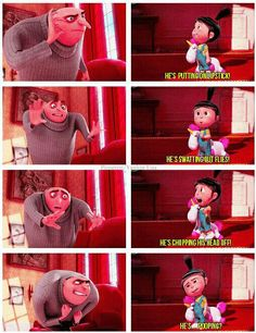 Despicable Me 2_Grue telling Agnes to tell Julianne that he is not home...Agnes is handling the situation well...lol!