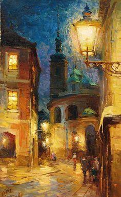 Art by Andrey Chernysh Classic Paintings, Beautiful Paintings, Arte Van Gogh, Classical Art, Art Abstrait, City Art, Art Plastique, Aesthetic Art, Love Art