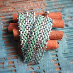 Superduo and Rulla bracelet with two turquoise colours