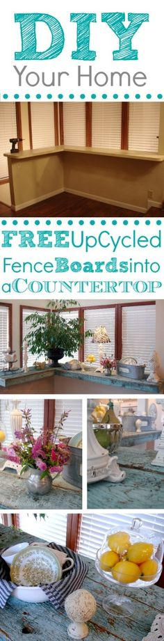 Sun Room Bar Repurposed Wood Countertop - A DIY Makeover: Repurpose fence boards into a rustic countertop to cover ugly laminate. Diy Wood Countertops, Pallet Barn, Repurposed Wood, Recycled Pallets, Diy Bar, Home Wallpaper, Diy Home Improvement, Home Projects, The Help
