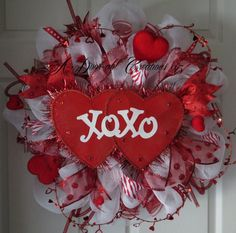 XOXO Double Heart Valentine Deco Mesh Wreath