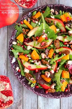 Harvest Salad with Butternut Squash is loaded with sweet flavor and crunch! Perfect for Thanksgiving, this salad is delicious and colorful!