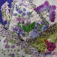 crazy quilt and silk ribbon embroidery - Google Search