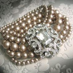 5 Strand Champagne Pearl Bridal Cuff Bracelet with Crystal Rhinestone Focal - Vintage Theme Wedding Jewelry Bridal Cuff, Bridal Bracelet, Wedding Jewelry, Pearl Bridal, Vintage Pearls, Vintage Jewelry, Vintage Bracelet, Vintage Rings, Vintage Clothing