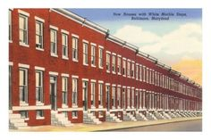 Baltimore row houses postcard