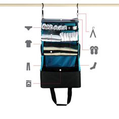Keep organized! Make travelling easier with this portable shelving system.