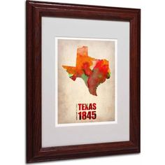 Trademark Fine Art Texas Watercolor Map Matted Framed Art by Naxart, Wood Frame, Size: 11 x 14, Multicolor