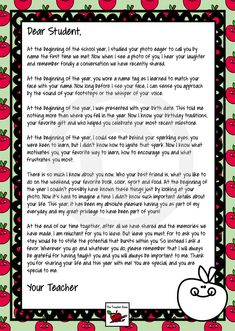 Personalized End of Year Letter to Student, From Teacher. Such a lovely letter, with one paragraph switched out to create 16 extra versions for that personal touch. One totally customizable letter also! Editable Name Fields! ($)