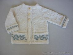 Hand knitted baby cardigan in natural white.Knit baby girl