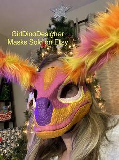 Dinosaur Mask, Mask Ideas, Fursuit, Sell On Etsy, Masks, Cosplay, Halloween, Cute, Kawaii