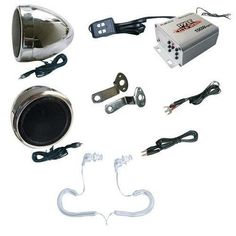 Complete Pyle Weatherproof Mp3/ipod Speaker Kit for Motorcycle, Motorbike, Atv, Scooter, Boat, Snowmobile - 100w Amplifier + 3