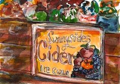 """Daily Paintworks - """"ACEO Sunnyside Cider Box Label watercolor pen and ink by Penny StewArt"""" - Original Fine Art for Sale - © Penny Lee StewArt www.pennyleestewart.com"""