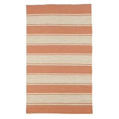 Coral Striped Dhurrie Rug