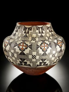 Culture/People:Acoma Pueblo  Object name:Jar  Date created:1900-1920  Place:Acoma Pueblo, Acoma Reservation; Cibola County; New Mexico; USA  Media/Materials:Pottery, paint  Techniques:Coiled/hand built, painted  Collection History/Provenance:Collection history unknown; formerly in the collection of William M. Fitzhugh (1853-1929, a San Francisco collector); acquired by MAI in 1936.