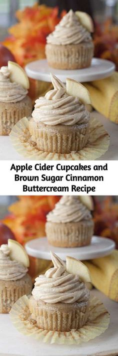 Apple Cider Cupcakes and Brown Sugar Cinnamon Buttercream Recipe – Mom Secret In… – Gesundes Abendessen, Vegetarische Rezepte, Vegane Desserts, Fall Dessert Recipes, Köstliche Desserts, Cupcake Recipes, Fall Recipes, Delicious Desserts, Cupcake Cakes, Yummy Food, Cupcake Ideas, Mini Cakes