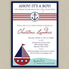 Ahoy It's a Boy  Nautical Baby Shower Invitation by doubleudesign, $12.50