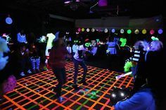 Blacklight Glow Party Dance floor made with neon duct tape. Blacklight Glow Party Dance floor made with neon duct tape. Glow Party, Disco Party, Glow In Dark Party, Black Light Party Ideas, Party Party, Neon Birthday, 13th Birthday, Dance Party Birthday, Dance Themes