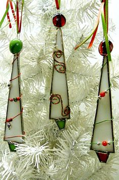 Whimsical White Stained Glass Christmas Tree by miloglass on Etsy, $23.00