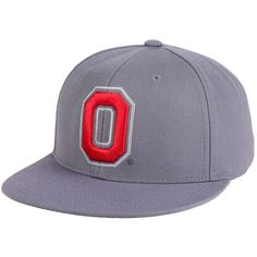 J America Ohio State Buckeyes Upright O Fitted Cap ($35) ❤ liked on Polyvore featuring men's fashion, men's accessories, men's hats, grey, mens fitted hats and mens caps and hats