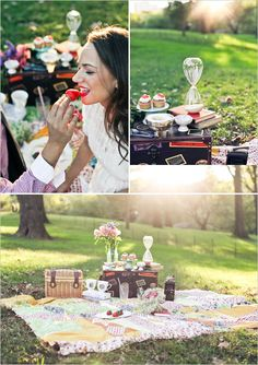 Vintage picnic inspiration. We're having a Carl and Ellie picnic refreshment hour instead of a proper cocktail hour.