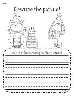 Kindergarten writing center - practice adding details to a sentence