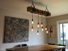 "42"" Rustic Wood Beam Light Fixture by Paul Miller"
