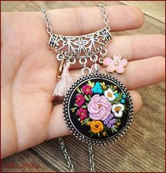 Diamond Necklace / Gold Round Cut Diamond Trio Cluster Necklace / Three Diamond Floating Necklace / Everyday Jewelry / Black Friday Every woman needs some sparkle in her life. Girls Necklaces, Unique Necklaces, Handmade Necklaces, Embroidery Jewelry, Floral Embroidery, Hand Embroidery, Diamond Cross Necklaces, Floral Necklace, Girl Gifts