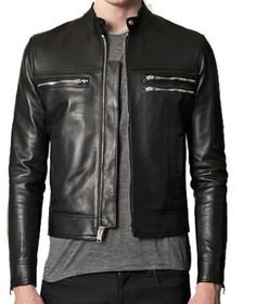 Men Motorcycle Leather Black Jacket Sz S-5XL or Custom Made 12 Colors #ColombianCouture #Motorcycle