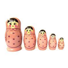 Nesting Doll Pink Star 5Pc